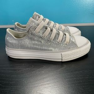 Converse all star shiny silver sneakers